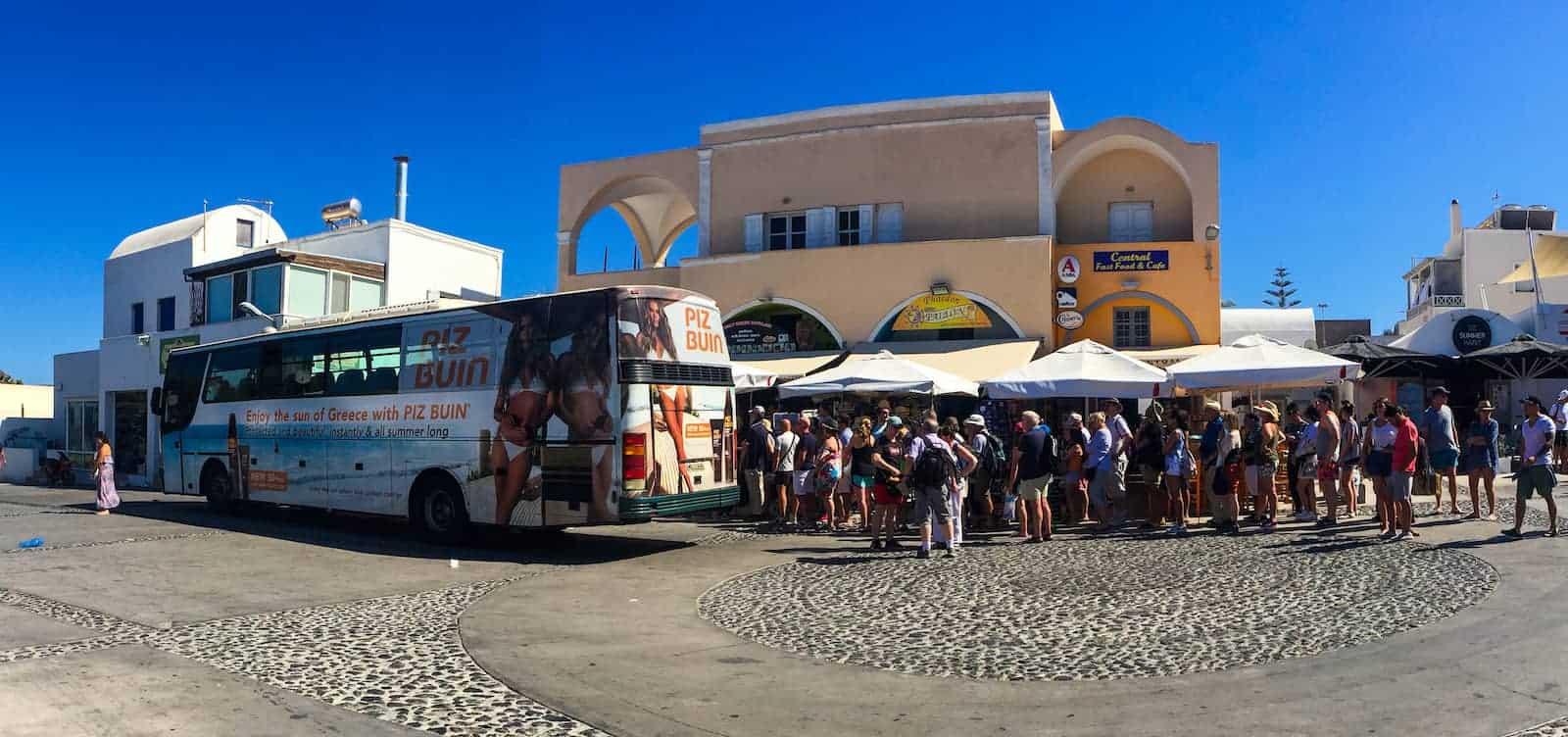 Santorini Oia Village Bus Stop